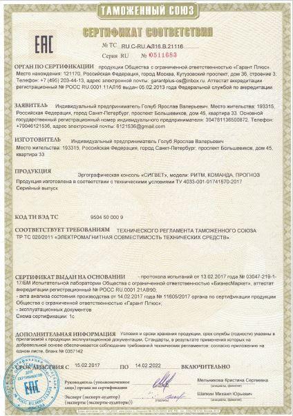 Сертификат соответствия РИТМ